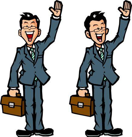 Businessman raising hand