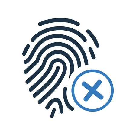 Fingerprint denied, reject icon