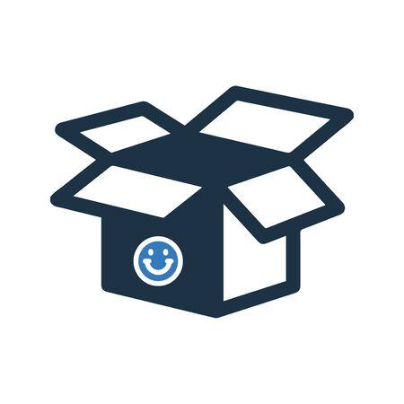Diseño de elementos creativos de la colección de iconos del mercado de valores. Pixel Perfect Icono de caja abierta, paquete vacío para proyectos comerciales, impresos, web o de cualquier tipo.