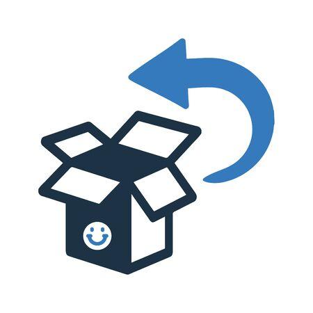 Gut organisiertes und vollständig editierbares Liefer-Rückgabe-Symbol, Paketrückseite, Service-Rücksendung für jede Verwendung wie Printmedien, Web, Archivbilder, kommerzielle Nutzung oder jede Art von Designprojekt. Ich hoffe, dieses Symbol hilft Ihnen. Danke, dass du es benutzt hast.