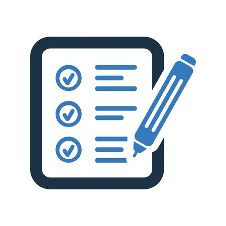 Audit, exam, survey report icon for any use like print, website etc.