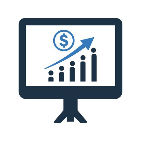 Earning Growth Icon, income report, profit increasing chart design - Perfect for use in designing and developing websites, printed files and presentations, stock images, Promotional Materials, Illustrations or Info graphic or any type of design projects.