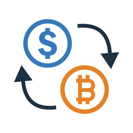 Bitcoin exchange with dollar icon for digital payment through online. Vetores