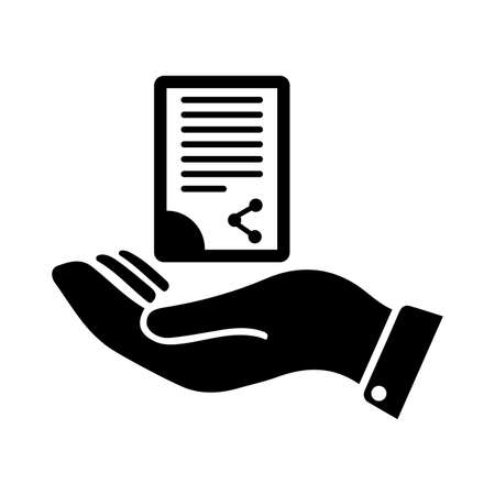 Document handover icon. Use for commercial, print media, web or any type of design projects.