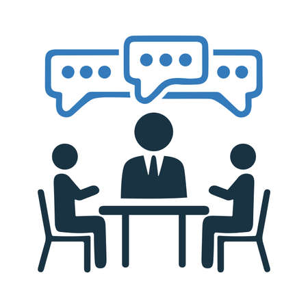 Discuss, meeting icon, vector graphics for various use. Thank you.