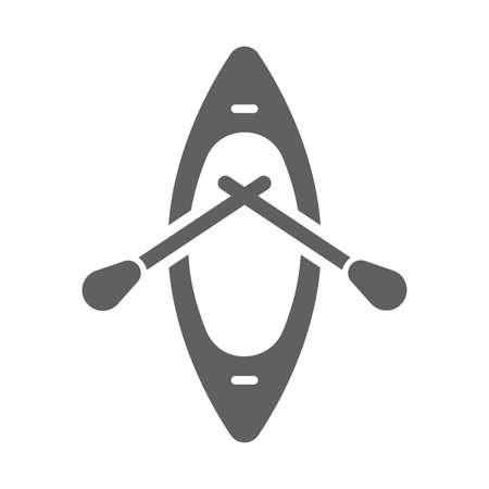 Boat, beach kayak icon