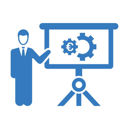 Presentation, Euro business project icon. Well organized and editable Vector design using in commercial purposes, print media, web or any type of design projects.