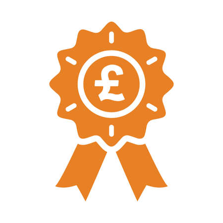 Pound sterling stamp award icon. Well organized and editable Vector design using in commercial purposes, print media, web or any type of design projects.