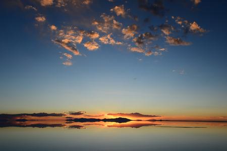 Sunset in Uyuni salt flat, Bolivia Stock Photo