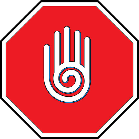 attention sign: stop sign  hand Illustration