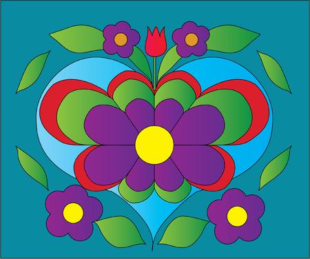 flower heart color illustration Vector