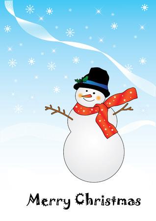 vector snowman card for xmas  Stock Vector - 8286280