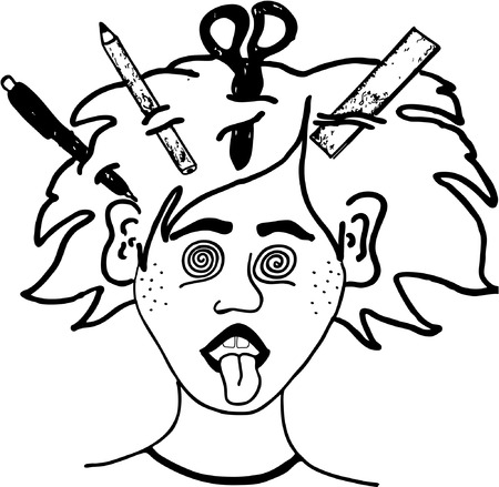 crazy hair: vector crazy guy from school illustration