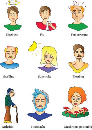 hemorragias: iconos de vectores de enfermedades y s�ntomas