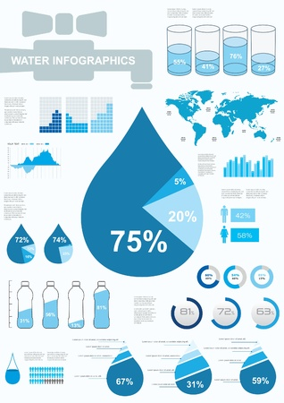 water tanks: Water infographics.  Information Graphics. Vector illustration