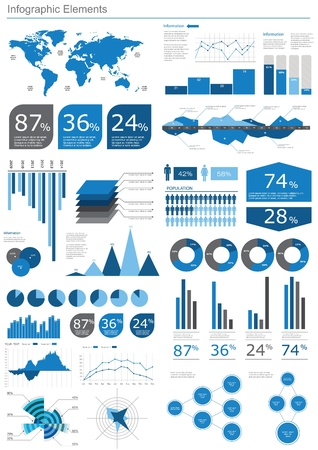 visualize: Detail infographic vector illustration. World Map and Information Graphics