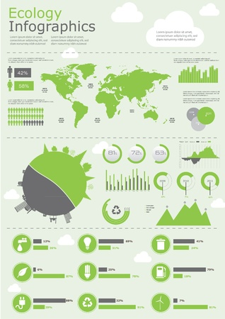 sustainable development: Ecology info graphics collection, charts, symbols, graphic vector elements Illustration