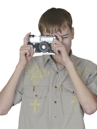 keeps: boy keeps in hand get old photo camera Stock Photo