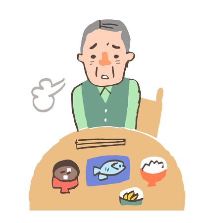Senior man sighing without appetite 스톡 콘텐츠