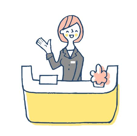 A woman in charge of the front desk with a smile 스톡 콘텐츠