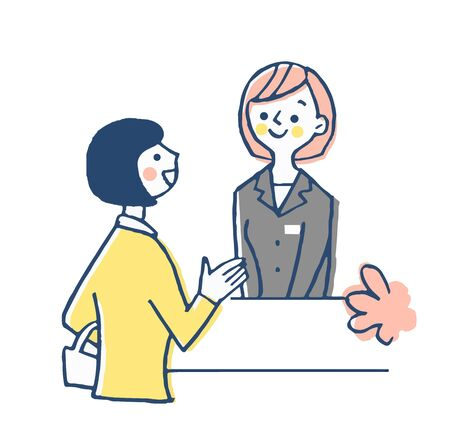 Receptionist and female customers