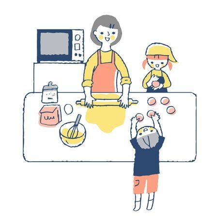 Parents and children enjoymaking bread 版權商用圖片