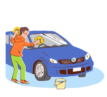 A man who washes a car Stock Photo