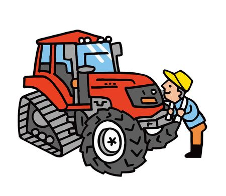 Tractor and farmer man