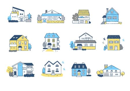 Set of houses in various shapes