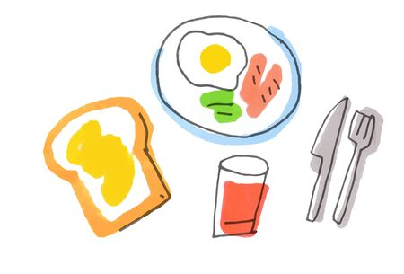 Breakfast with toast and fried eggs Standard-Bild