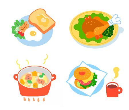 Western menu set of various