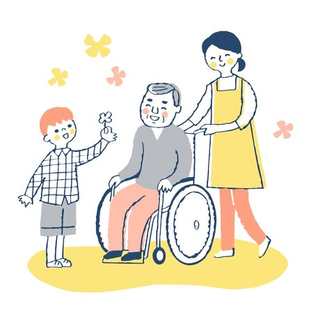 Senior men and women care staff in wheelchairs with boys