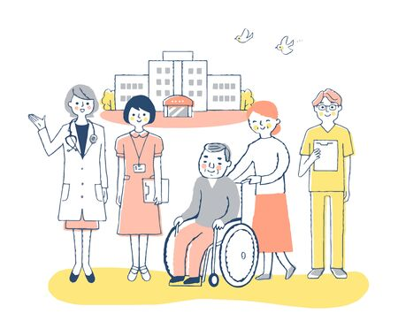 Medical staff with doctors in hospitals and wheelchairs