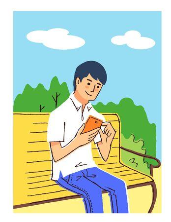 Man operating smartphone on bench 版權商用圖片