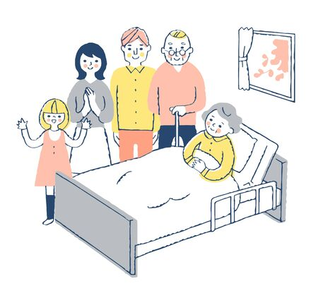 Grandma and family in bed