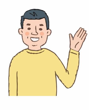 Middle-aged man waving Imagens
