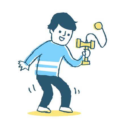 A man playing with Kendama