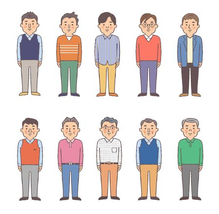 Set of 10 men of various types