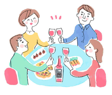 Man and woman toasting with wine