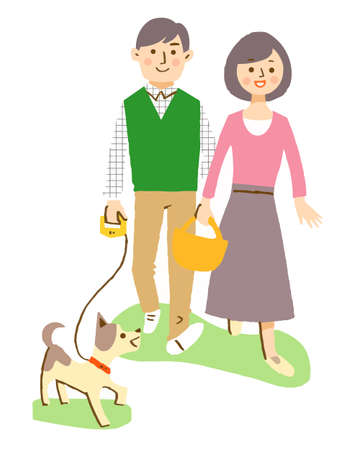 Couple to take a walk with dog