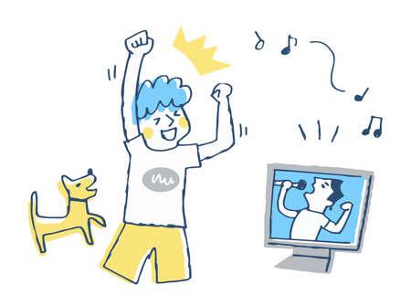 Men enjoying live music online