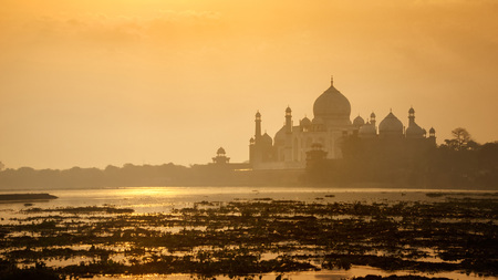 agra: The ancient Taj Mahal  scenery during golden sunrise in Agra, Uttar Pradesh, India