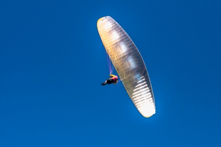 restraints: Parachute soaring in deep blue sky