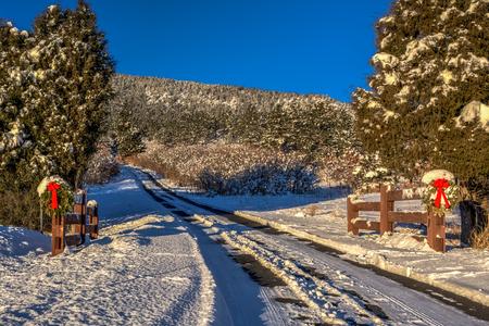 coronas navidenas: camino cubierto de nieve con guirnaldas de Navidad sobre postes de la puerta Foto de archivo