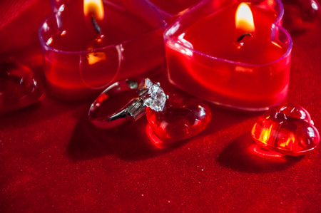 diamond candle: Red heart shaped burning votives with glass hearts and diamond ring