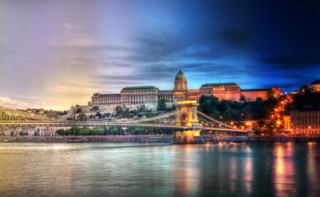 dia y noche: día de la noche de Budapest Timelapse Foto de archivo