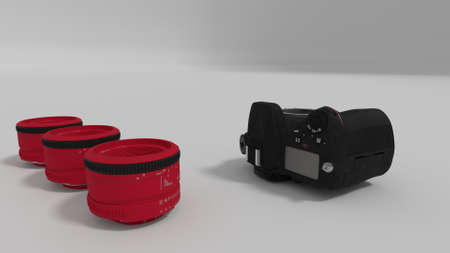 50mm: red lenses and camera body 3d render