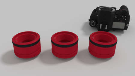 red lenses and camera body 3d render