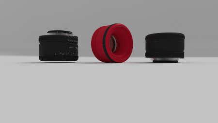 render: camera lenses 3d render