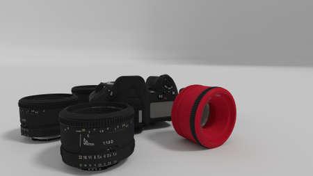lenses around camera body in circular array 3d render